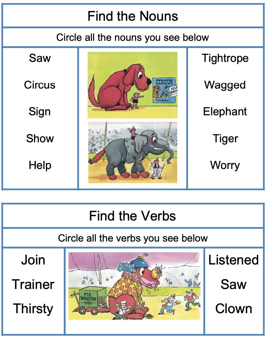 noun and word matching with Clifford the Big Red Dog