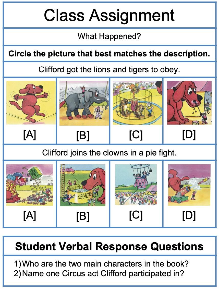reading comprehension with Clifford the Big Red Dog